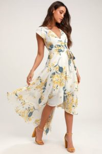 White Summer Dress With Blue Flowers