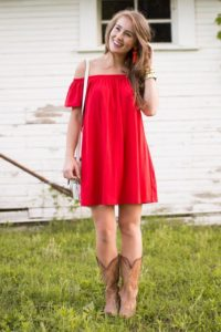 White Summer Dress With Cowboy Boots Is A Fashion Statement