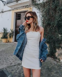 A White Summer Dress With Jean Jacket