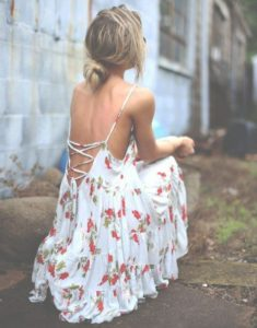White Summer Dress With Red Flowers